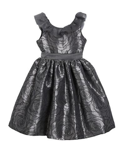 Girl's Floral Jacquard Dress w/ Ruffle Organza Collar, Size 4-6X