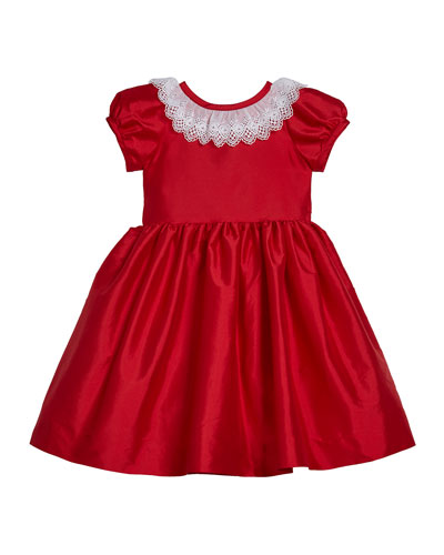 Girl's Matte Sateen Dress with Lace Collar, Size 4-6X
