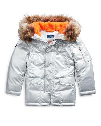 Boy's Military Parka Jacket w/ Faux Fur Trim, Size 2-4
