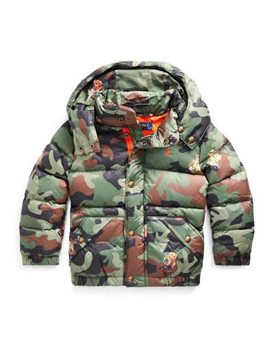 Boy's Camo Bear Print Jacket, Size 2-4