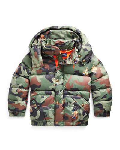Boy's Camo Bear Print Jacket, Size 5-7