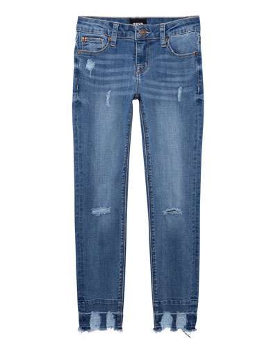 Girl's 5-Pocket Distressed Skinny Jeans with Chewed Hem, Size 7-16