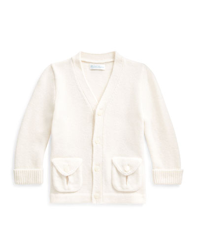 Kid's Merino Wool V-Neck Sweater Cardigan, Size 6-24 Months