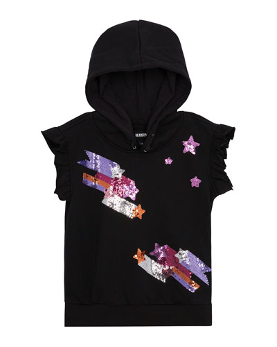 Girls' Shooting Star Sequined Hoodie, Size S-XL