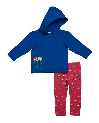Girl's French Terry Flower Applique Hoodie w/ Matching Leggings, Size 2-6X