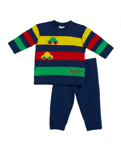 Boy's Beep Beep Multicolor Banded Shirt w/ Cars & Jogger Pants, Size 6-24 Months