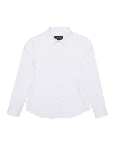 Boy's Poplin Stretch Button Down Shirt, Size 4-16