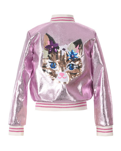 Girl's Metallic Bomber Jacket w/ Sequin Cat Face, Size 7-16