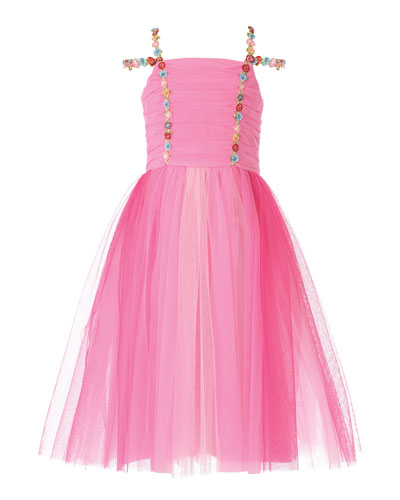 Girl's Pink Princess Tulle Dress, Size 2-6