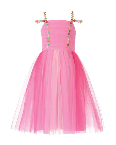 Girl's Pink Princess Tulle Dress, Size 7-10