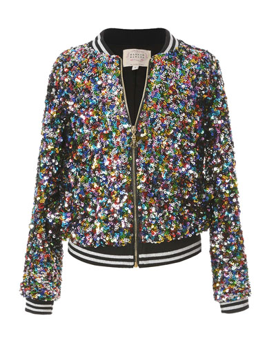 Girl's Multicolored Sequin Bomber Jacket, Size 7-14
