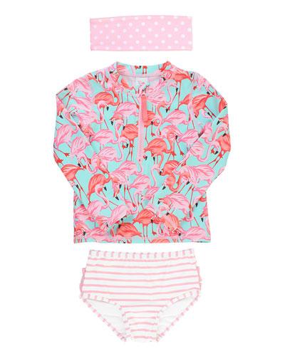 Girl's Flamingo Zip Rash Guard w/ Swim Bottoms & Headband, Size 0M-8