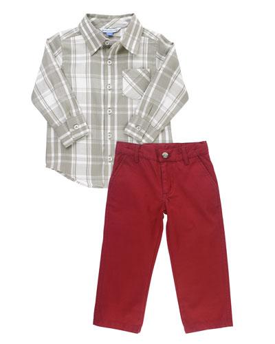Boy's Plaid Shirt w/ Chino Pants, Size 3-24 Months