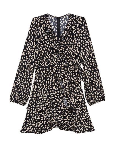 Girl's Cassidy Animal-Print Wrap Dress, Size 7-18