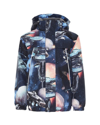 Boy's Castor Space Print Functional Waterproof Jacket, Size 4-6