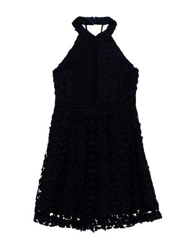 Girl's Gemma Floral Lace Halter Dress, Size 7-18