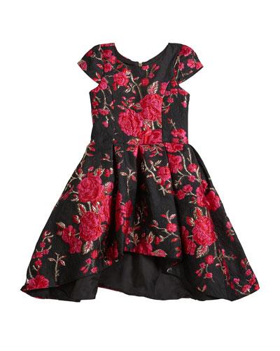 Girl's Brenna Rose Jacquard High-Low Dress, Size 7-16