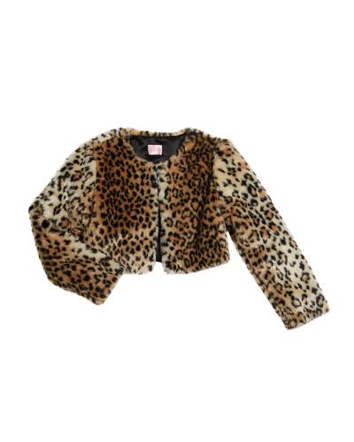 Girl's Leopard Faux Fur Bolero Jacket, Size 7-16