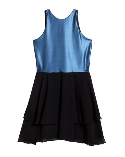 Girl's Pleather Halter Dress w/ Tiered Chiffon Skirt, Size 7-16