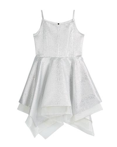 Girl's Snow Queen Textured Jacquard Handkerchief Party Dress, Size 7-16