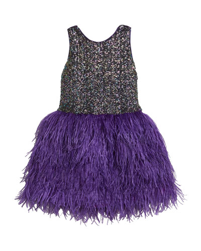 Girl's Sequin Sheath Dress w/ Feather Skirt, Size 7-16