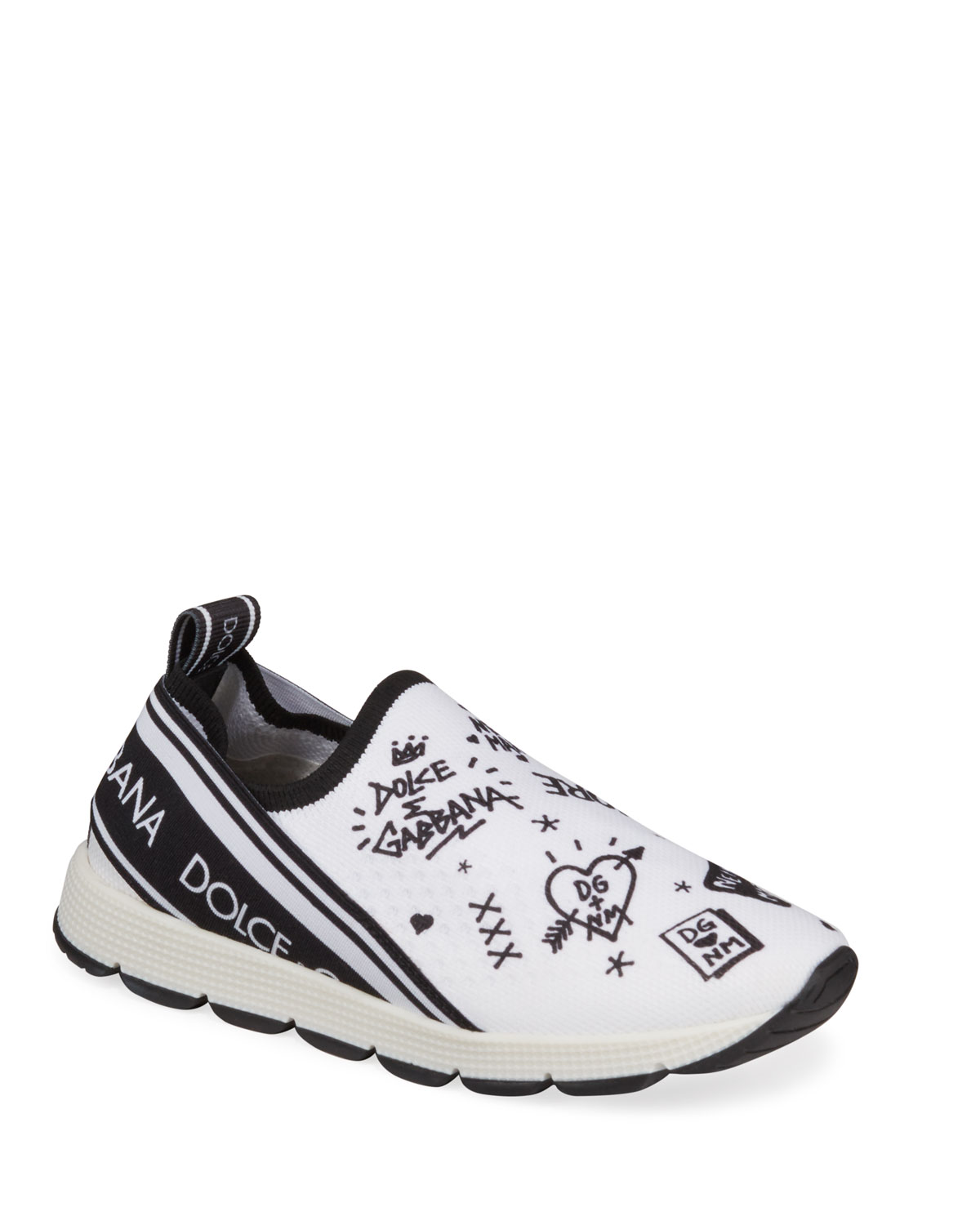 Dolce & Gabbana Sneakers DG + NM MAGLINA SLIP-ON KNIT LOGO-PATCH SNEAKERS, TODDLER
