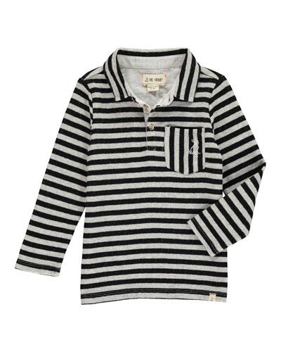 Boy's Striped Long-Sleeve Polo Shirt w/ Children's Book, Size 2T-10
