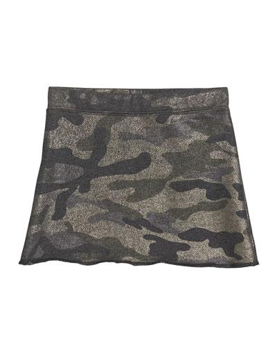Girl's Metallic Camo Skirt, Size S-XL