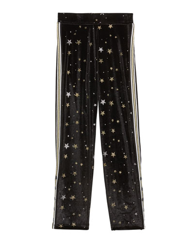 Girl's Metallic Star Velvet Sweatpants w/ Side Taping, Size S-XL