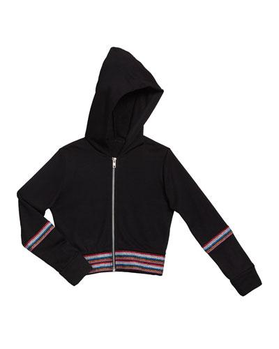 Girl's Metallic Taping Hooded Jacket, Size S-XL