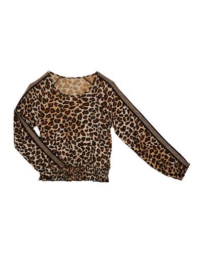 Girl's Leopard Print Smocked Hem Top, Size S-XL