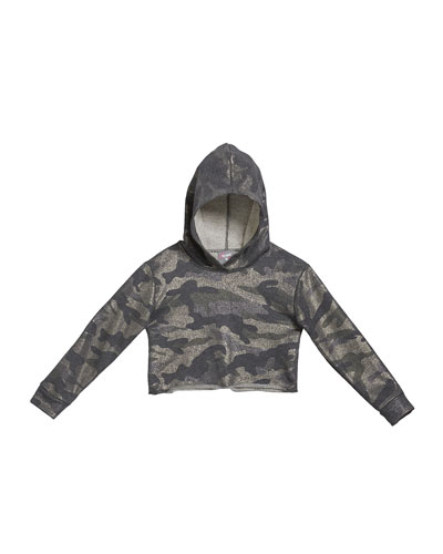 Girl's Metallic Camo Crop Hoodie, Size S-XL