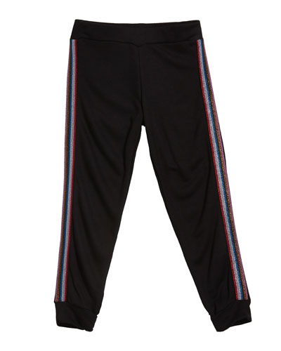 Girl's Sweatpants w/ Metallic Taping, Size S-XL