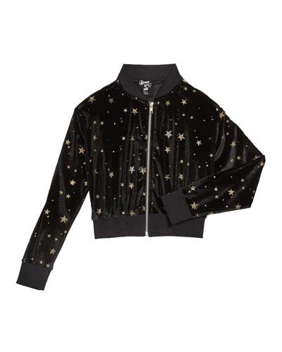 Girl's Velvet Metallic Stars Bomber Jacket, Size S-XL