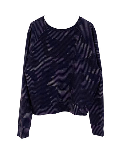 Girl's Striped Camo Printed Long-Sleeve Crewneck Top, Size 7-16