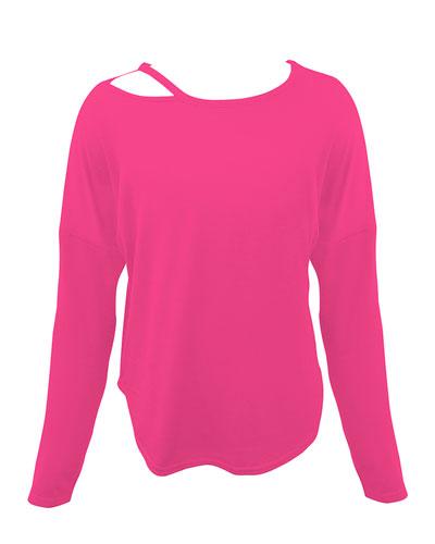 Girl's Slash Neck Long-Sleeve Top, Size 7-16