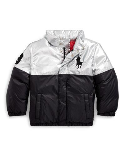 Boy's Two-Tone Puffer Jacket, Size 5-7