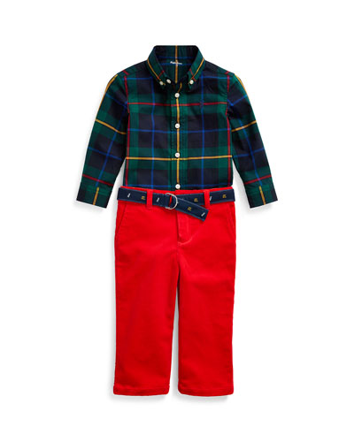 Boy's Poplin Plaid Shirt w/ Corduroy Pants & D-Ring Belt, Size 6-24 Months