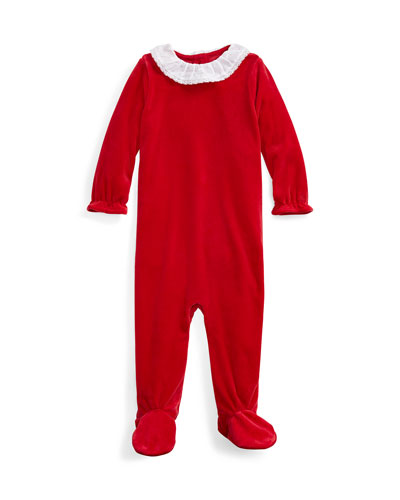 Girl's Velour Footie Playsuit, Size 3-9 Months