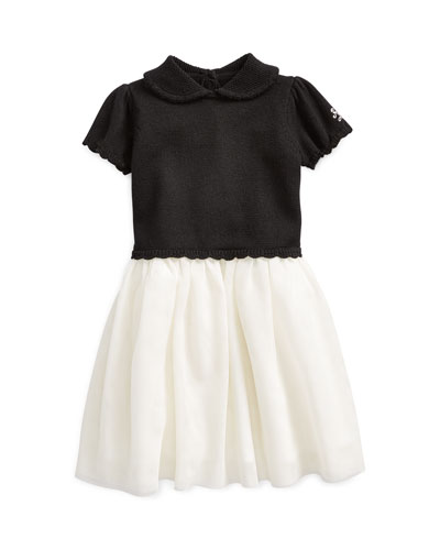 Girl's Holiday Sweater Tulle Dress, Size 3-24 Months