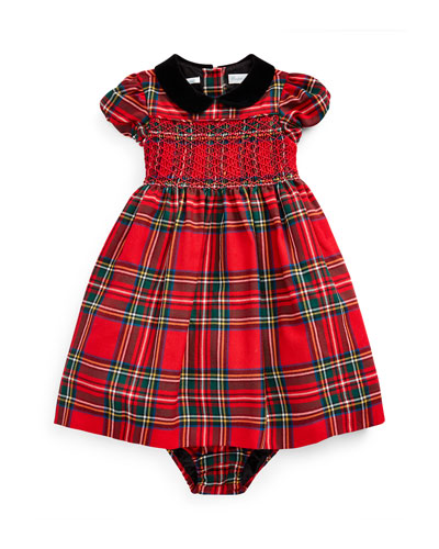 Girl's Wool Tartan Plaid Smocked Dress w/ Bloomers, Size 6-24 Months