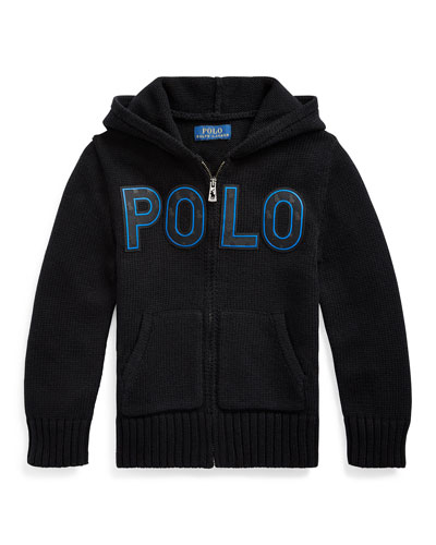 Boy's Knit Hooded Sweater Jacket w/ Silicone Patches, Size 5-7
