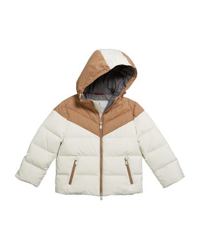 Boy's Colorblock Nylon Padded Jacket w/ Hood, Size 4-6