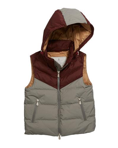 Boy's Colorblock Hooded Nylon Sleeveless Padded Jacket, Size 8-10
