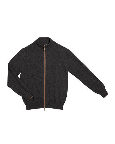 Boy's Cashmere Zip-Front Cardigan, Size 8-10