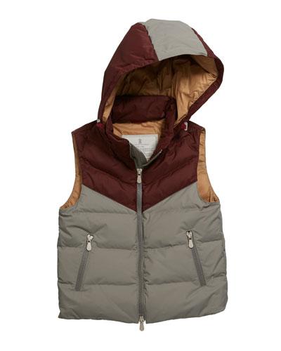 Boy's Colorblock Hooded Nylon Sleeveless Padded Jacket, Size 12