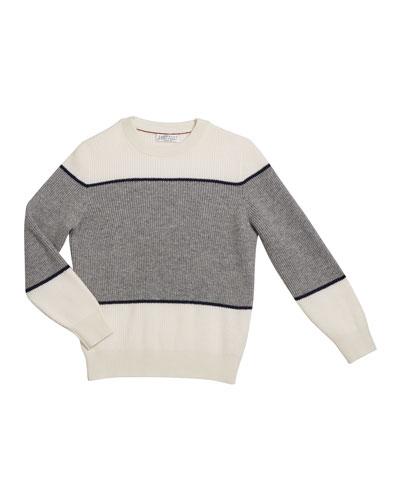 Boy's Cashmere Colorblock Crewneck Rib Sweater, Size 8-10