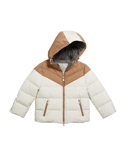 Boy's Colorblock Nylon Padded Jacket w/ Hood, Size 8-10