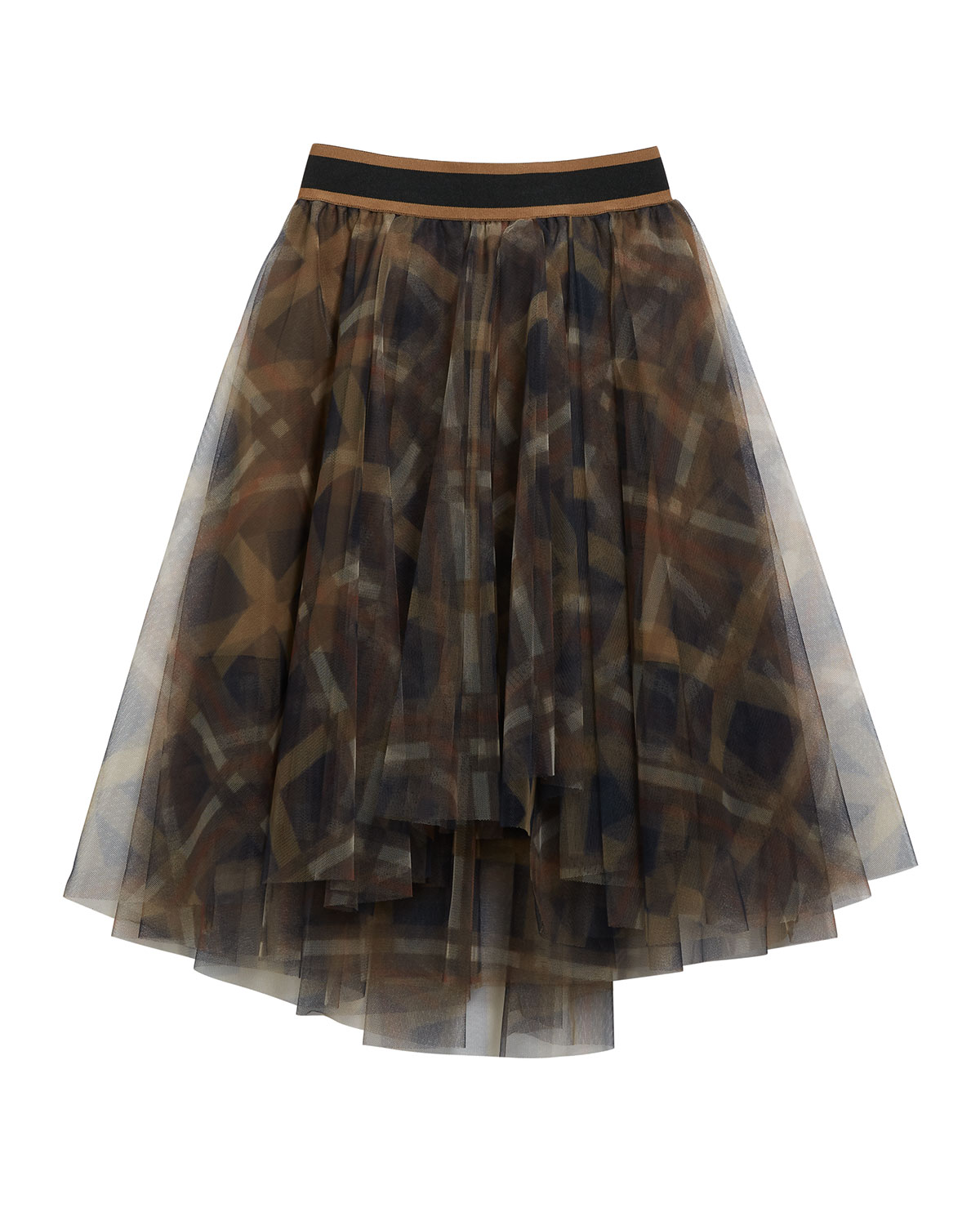 Brunello Cucinelli GIRL'S PRINTED TULLE A-LINE SKIRT
