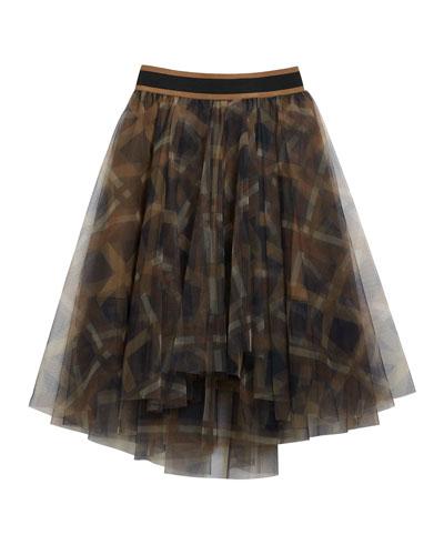 Girl's Printed Tulle Skirt, Size 8-10